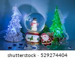 santa claus with rudolf and... | Shutterstock . vector #529274404