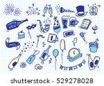 hand drawn new year doodle on... | Shutterstock .eps vector #529278028