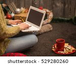 the girl with the computer and... | Shutterstock . vector #529280260