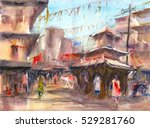 old city and temple of nepal...   Shutterstock . vector #529281760