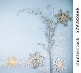 silver decorative snowflakes...   Shutterstock . vector #529283668