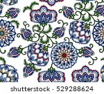 Stock vector vintage floral seamless pattern ethnic ornament stylized decorative flowers in folk style 529288624