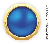 blue christmas button with gold ... | Shutterstock .eps vector #529291474
