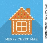 gingerbread house on blue... | Shutterstock .eps vector #529299760