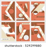 set invitation with geometric... | Shutterstock .eps vector #529299880