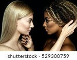 tolerance. two girls looking... | Shutterstock . vector #529300759