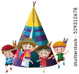 four kids playing indian around ... | Shutterstock .eps vector #529312678