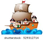 four kids playing pirate in the ... | Shutterstock .eps vector #529312714