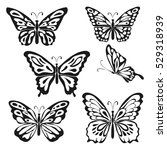 Stock vector butterfly set on white background abstract design vector illustration 529318939