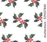 holly seamless new year pattern | Shutterstock . vector #529327840
