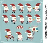 set funny santa claus in... | Shutterstock .eps vector #529339894