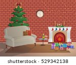 merry christmas room interior... | Shutterstock .eps vector #529342138