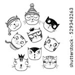 Stock vector cat set perfect for t shirt print 529343263