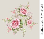 watercolor floral composition... | Shutterstock . vector #529343500