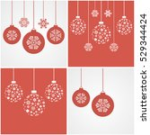 christmas snowflakes and balls. ... | Shutterstock .eps vector #529344424