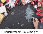 hand drawing christmas tree... | Shutterstock . vector #529355524