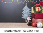 christmas table with... | Shutterstock . vector #529355740