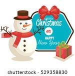 happy merry christmas snowman... | Shutterstock .eps vector #529358830