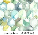 hand painted watercolor hexagon ... | Shutterstock . vector #529362964