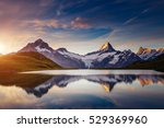 Panoramic view of the Mt. Schreckhorn and Wetterhorn. Popular tourist attraction. Dramatic and picturesque scene. Location place Bachalpsee in Swiss alps, Grindelwald valley, Europe. Beauty world. - stock photo