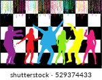 dancing people silhouettes.... | Shutterstock .eps vector #529374433