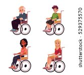 people in wheelchairs  old man  ... | Shutterstock .eps vector #529375570