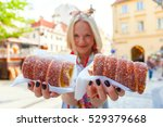 young female tourist with... | Shutterstock . vector #529379668