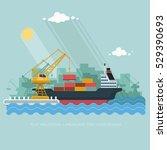 landscape seaport. the crane... | Shutterstock .eps vector #529390693