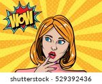 wow surprised beautiful woman ... | Shutterstock .eps vector #529392436