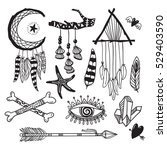 boho style hand drawn elements. ... | Shutterstock .eps vector #529403590
