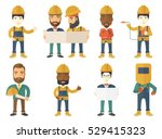 young cheerful builder in hard... | Shutterstock .eps vector #529415323
