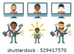 businessman coping with... | Shutterstock .eps vector #529417570