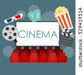 abstract cinema flat background ... | Shutterstock . vector #529419514