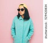 the girl in the oversized coat... | Shutterstock . vector #529420834