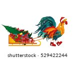 rooster in boots and cap of... | Shutterstock .eps vector #529422244