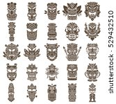 brown tiki head design set made ... | Shutterstock .eps vector #529432510