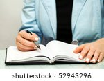 female hands writing. | Shutterstock . vector #52943296
