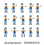 set of auto mechanic characters ... | Shutterstock .eps vector #529445476