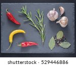Herbs And Spices Over Slate...