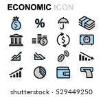 vector flat economic icons set... | Shutterstock .eps vector #529449250