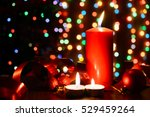 burning candle on a table with... | Shutterstock . vector #529459264