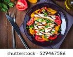 sliced roasted chicken breast... | Shutterstock . vector #529467586