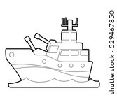 battleship icon. outline... | Shutterstock .eps vector #529467850