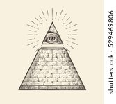 all seeing eye pyramid symbol.... | Shutterstock .eps vector #529469806