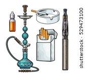 hookah  pack  ashtray ... | Shutterstock .eps vector #529473100