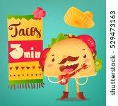 happy taco character in... | Shutterstock .eps vector #529473163