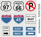 set of road and highway signs. | Shutterstock .eps vector #529475350