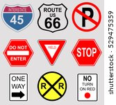 set of road and highway signs. | Shutterstock .eps vector #529475359