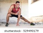 muscular sportsman stretching... | Shutterstock . vector #529490179