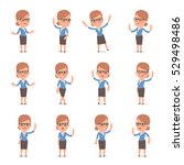 set of smart and cute character ... | Shutterstock .eps vector #529498486